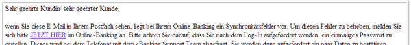 Ansicht einer Phishing-Mail mit Ankündigung einer Kontaktaufnahme durch ein angebliches Support-Team