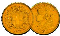 Goldmünze Franken Vreneli